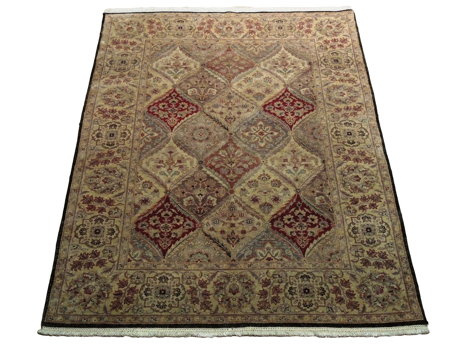 5x7 Multi-Color Oushak Wool Handmade Checked All-Over Transitional Area Rug