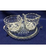 Jeannette Glass cubist cube crystal sugar, creamer & round handled tray,... - $11.87