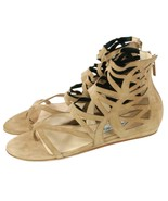 Jimmy Choo Vernie Sandals Nude Beige Stretch Suede Womens EU 36 UK 3   - $234.46