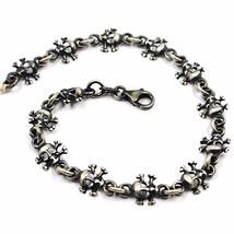 Armband 925 Silber, BrÜniert Matt, Reihe Von SchÄdel, 19 Cm - $57.52