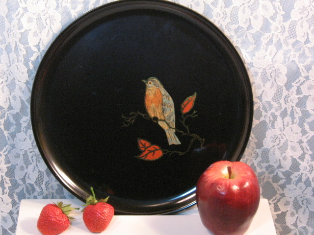 Couroc of California Blue Bird Round Tray Plate, Mid Century Barware Serving