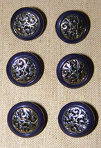 6 set Replacement shank shirt Buttons Navy Blue Silver Filigree Metal Ac... - $17.65