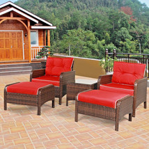 Patio Rattan Sofa Chair Ottoman Coffee Table Set Armchairs Garden Seat F... - $402.08