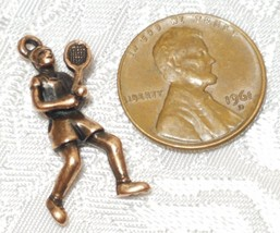 MALE TENNIS PLAYER FINE PEWTER PENDANT CHARM - 13mm L x 26mm W x 5mm D image 2