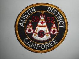 """Vintage 50s Boy Scouts BSA Austin District Camporee 1952 Patch 3.5"""" - $49.99"""