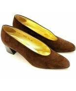 Walter Steiger Women Block Heel Almond To Pumps Size US 8.5AA Brown Suede - $33.70
