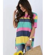 Women's Coco & Main Bright Striped Top Multicolored Small/Medium/2X - $12.00