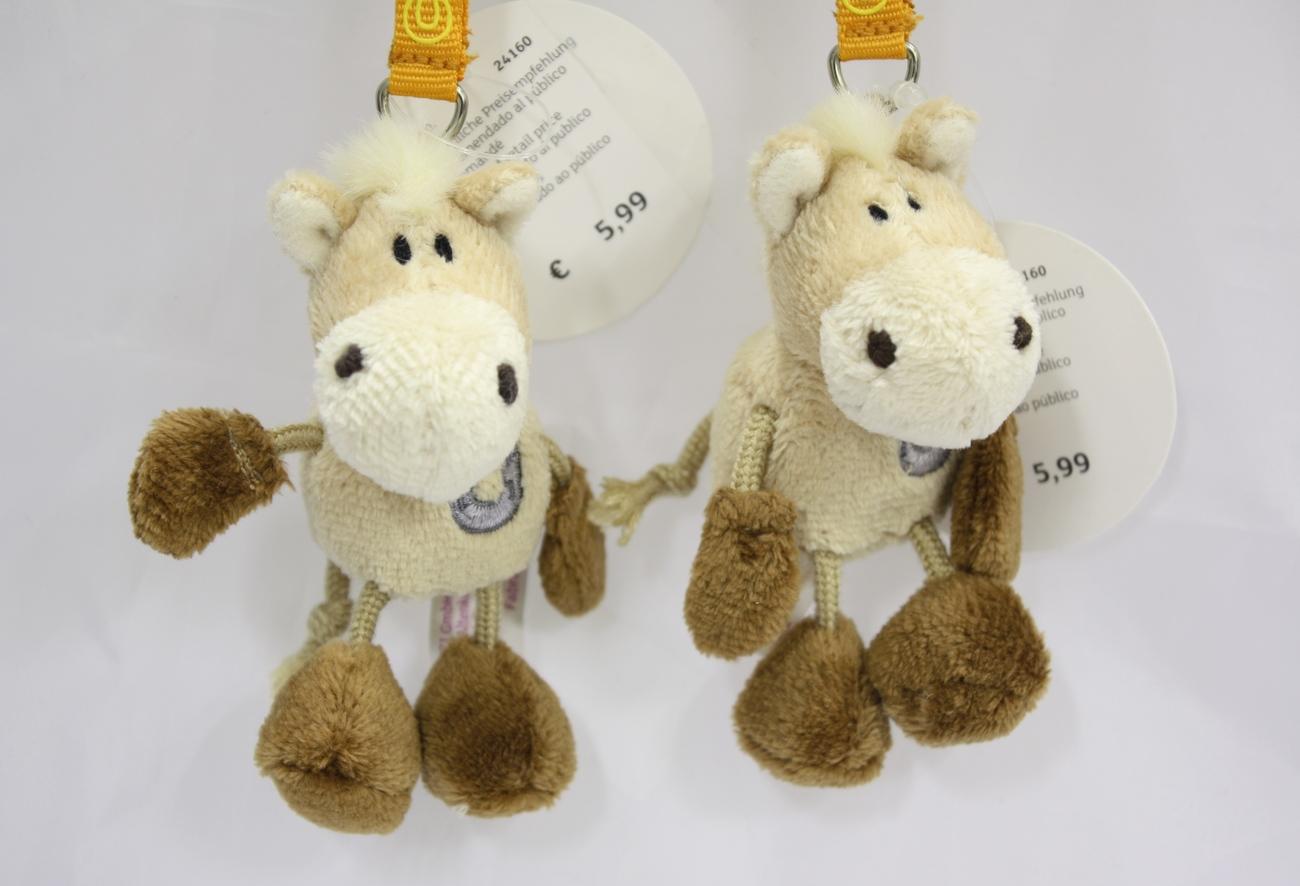 "NICI Horse Brown Beige Animal Plush Toy Beanbag Key Chain Keyring 3"""