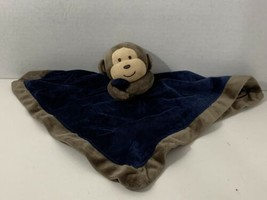 Carters baby security blanket navy blue plush lovey brown monkey rattle ... - $19.79