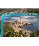 Puzzle 500 Piece Light House  10.75 X 18 NEW Rose Art Sealed Trees  - $7.62