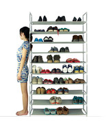 Free Standing Shoe Tower Rack  10 Tier 50 Pair Space Saving Storage Orga... - $29.95