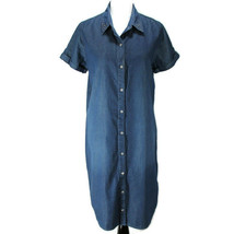 Chicos Chambray Shirt Dress Sz 2 L Blue Short Sleeve Button Front Cotton... - $28.99