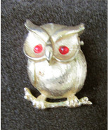 """Sarah Coventry owl pin red eyes gold tone small 1 1/4"""" tall - $4.46"""