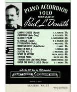 Skaters Waltz Piano Accordion Solo Paul L Donath Sheet Music  - $13.49