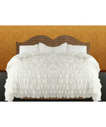 White Chiffon Ruffle Lace Style Duvet Cover Set 3pc - $169.00+
