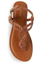 New Women's Merona Jana Quarter Strap Flat Strappy Sandals in Cognac NWT image 2
