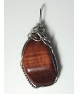 .925 SS Wire Wrapped Red Tiger's-Eye Pendant by Jemel - $36.95