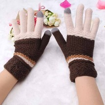 Womens Gloves Knitting Winter Warmer Colorful Patchwork Full Fingers Mit... - $9.49