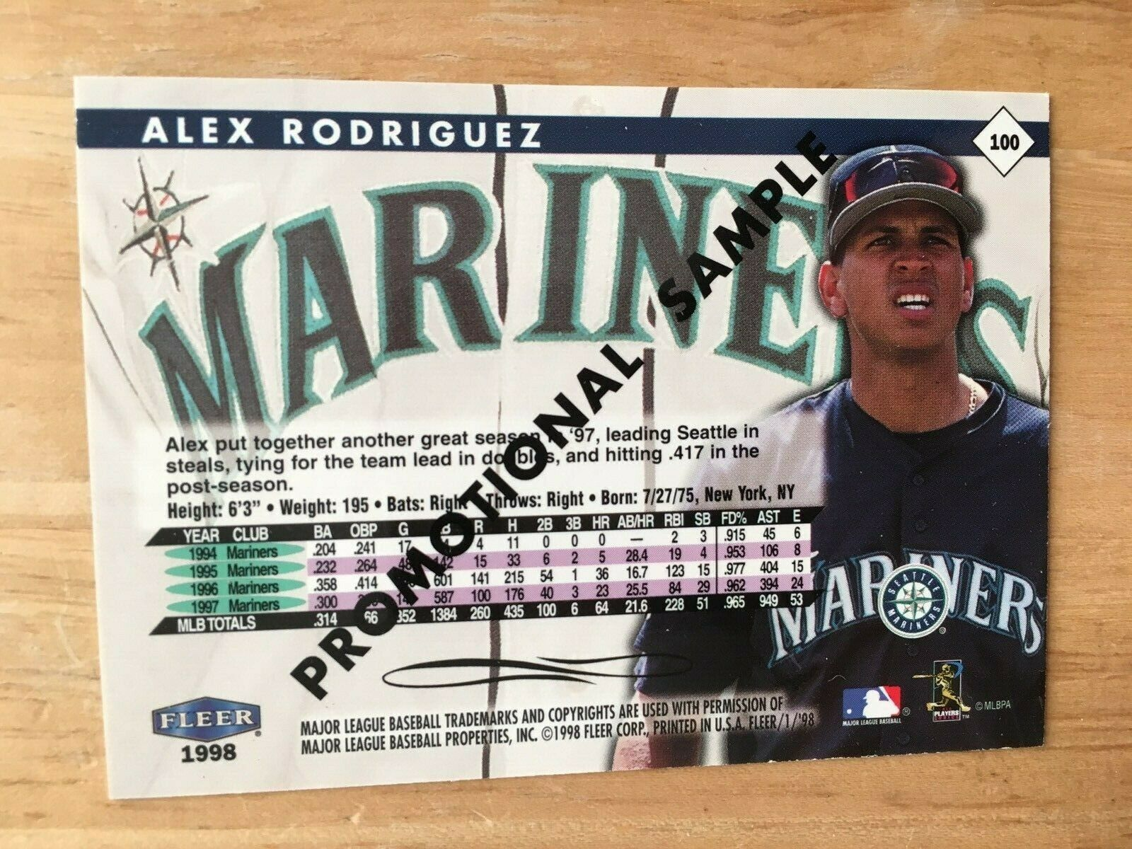 1998 Fleer Tradition Alex Rodriguez #100 PROMO Baseball Card NM Seattle Mariners