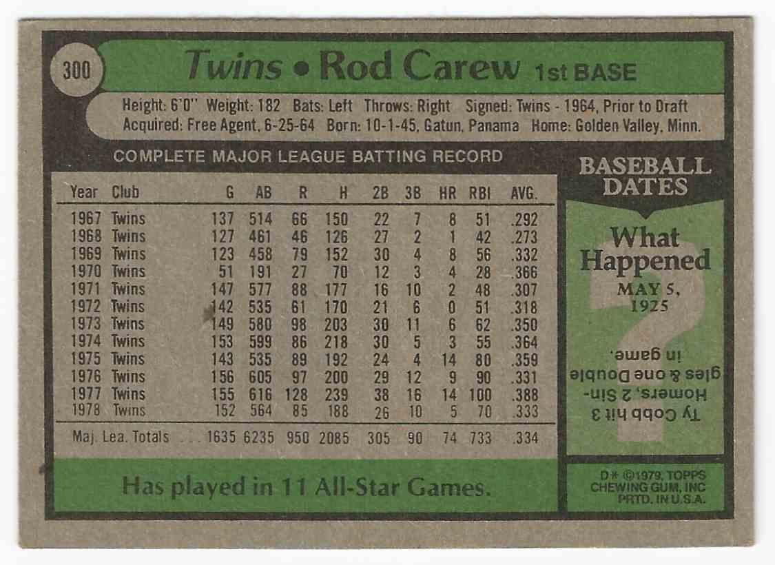 1979 Topps Rod Carew - All Star - Minnesota Twins Minnesota Twins #300
