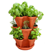 Stackable Garden Planter Herb Flower Pots Indoor Outdoor Round Clover Pl... - $113.28 CAD