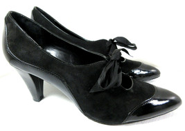 Holiday Liz Claiborne Raleigh Black Bow Heels Leather Upper Size 10M Women's - $19.75
