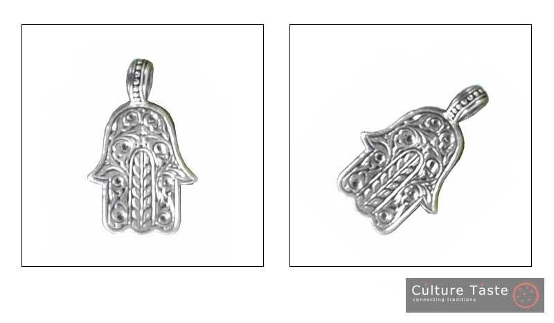 Gerochristo 3231 -  Sterling Silver Hamsa Fatima Hand Amulet Pendant