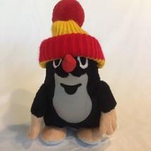 MOLE PLUSH Krtek Red & Yellow Beanie Hat Czech Stuffed Animal Toy MU Rare - $14.84
