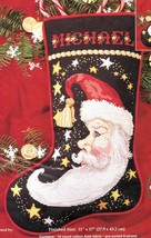 Janlynn Crescent Santa Moon Stars Christmas Cross Stitch Stocking Kit 140-129 - $99.95