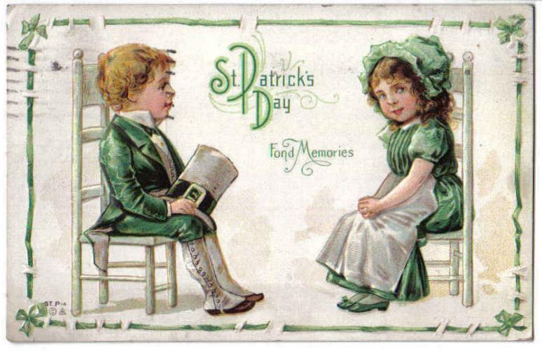 Vintage Nash St.Patrick's Day Postcard Children Sitting-Chairs-Series ST.P14