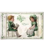 Vintage Nash St.Patrick's Day Postcard Children Sitting-Chairs-Series ST... - $5.95