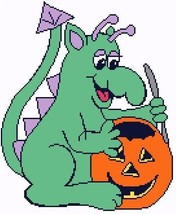 Trick or Treat Dragon Color Graph Afghan Pattern - $5.00