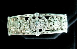 Judith Ripka Sterling Silver Diamonique Floral Hinged Cuff Bracelet AVG JR Box image 2