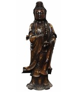 Chinese Fine Bronze Metal Bottle Standing Kwan Yin Buddha Statue cs2785 - $7,840.00