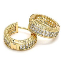 New 14 K Yellow Gold Filled Huggie Hoop Earrings with White Sapphires~Go... - $39.55 CAD