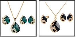 "3Pc Fashion Jewelry Faux Rhinestones Choice or Black or Green ""Dragon Te... - $6.45"