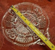 Vintage Divided Condiment Dish Double Handle Pressed Glass Fleur De Lis Pattern image 5