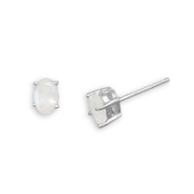 Sterling Silver Stud Earrings with Oval Moonstone - $22.99