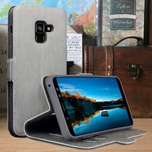 Galaxy A8 2018 Folio Wallet Perfect Leather Flip Case Stand  Grey Beige - $18.25
