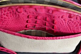 NWT Brahmin Mini Duxbury Shoulder Bag in Punch Harbor, Pink Leather/Beige Fabric image 9