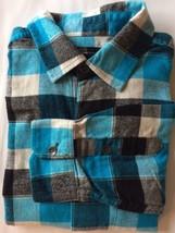 Hurley Fleece Men Dress Shirt Blue Black Plaid Metal Buttons 100% Cotton... - $25.71