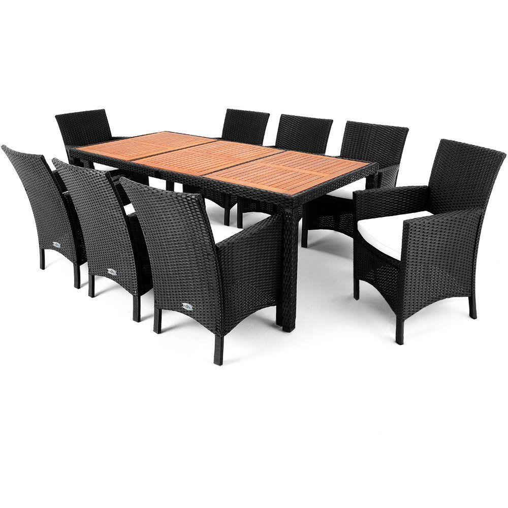Rattan Garden Set 9pcs Furniture Outdoor Patio Dining Wood Top Table & Armchairs image 2
