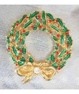 Doan Festive Golden Green & Red Enamel Christmas Wreath Brooch 1970s vin... - $12.82