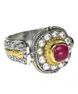 Gerochristo 2327 - Gold, Silver & Pearls Ornate Medieval-Byzantine Ring ... - $750.00