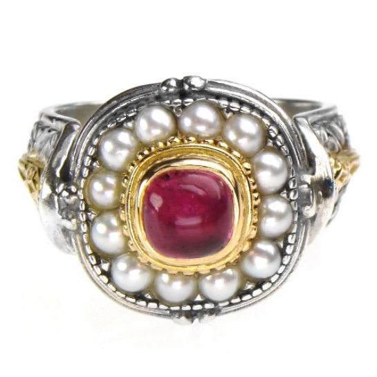 Gerochristo 2327 - Gold, Silver & Pearls Ornate Medieval-Byzantine Ring / size 7