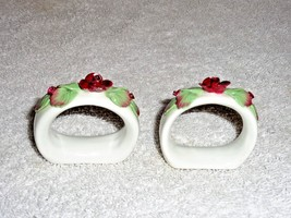 Vintage Aynsley Hand Painted Napkin Rings Made in England Fine bone China - $10.45