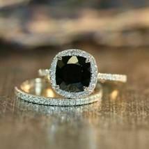 3ct Cushion Black Diamond 14k White Gold Fn Engagement Bridal Ring set  - $106.25