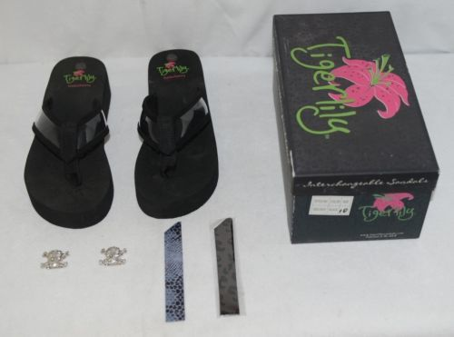 Tigerlily Debutante Black Changeable Sandals Color Bands Crossbone Jewels Size10