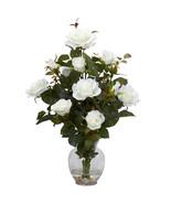 Rose Bush w/Vase Silk Flower Arrangement - $52.54