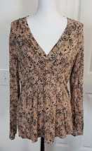 WOMEN'S LIZ CLAIBORNE SIZE L BLACK BROWN ANIMAL PRINT LEOPARD TOP PRETTY - $9.90